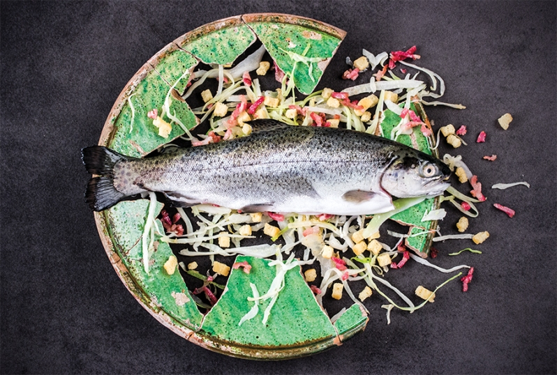 Trout with white cabbage / Francisco Motino, Arte de cozina, pasteleria, vizcocheria y conserveria / 1611, Spain (picture in Smaak! Een geschiedenis in 120 recepten)